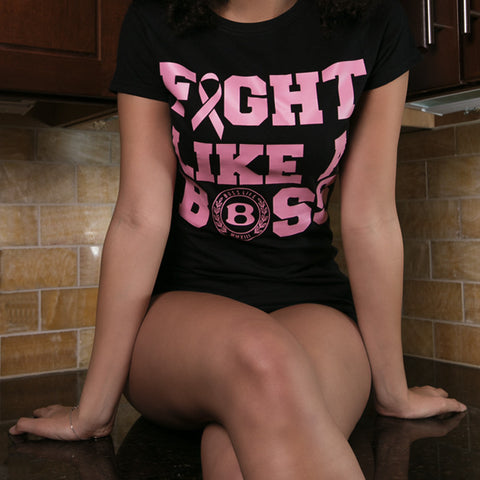 "BossLife ""Fight Like a Boss"" Women's Tee - Black/Pink"