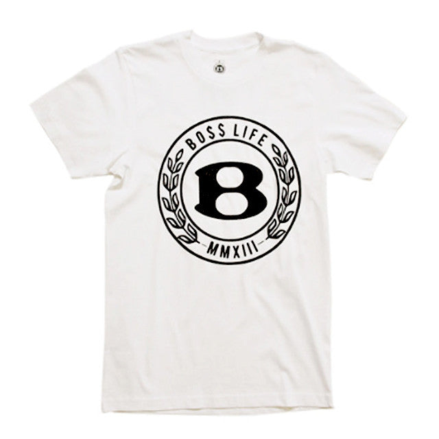 "BossLife ""Circle B"" Tee - White/Black Flock - BossLifeWorld"