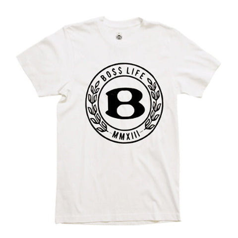"BossLife ""Circle B"" Tee - White/Black Flock"