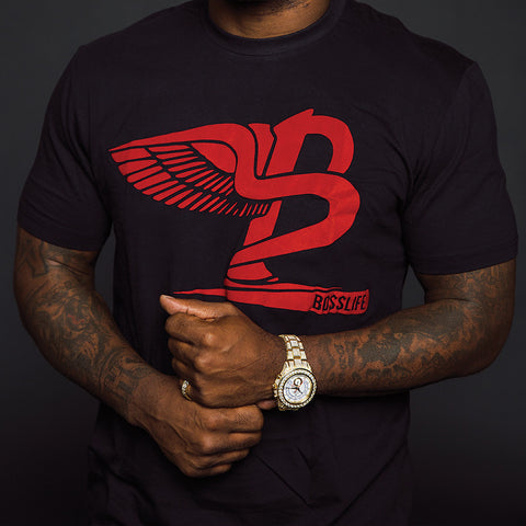 "BossLife ""Flying B"" Tee - Black/Red Flock"