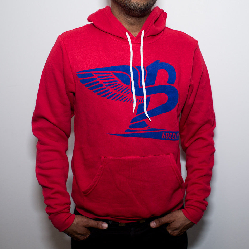 "BossLife ""Flying B"" Hoody - Red/Blue Flock - BossLifeWorld  - 1"