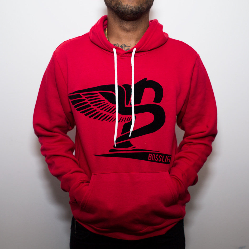 "BossLife ""Flying B"" Hoody - Red/Black Flock - BossLifeWorld  - 1"