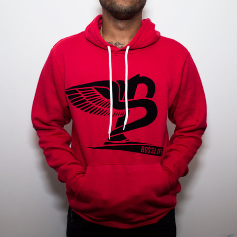 "BossLife ""Flying B"" Hoody - Red/Black Flock"