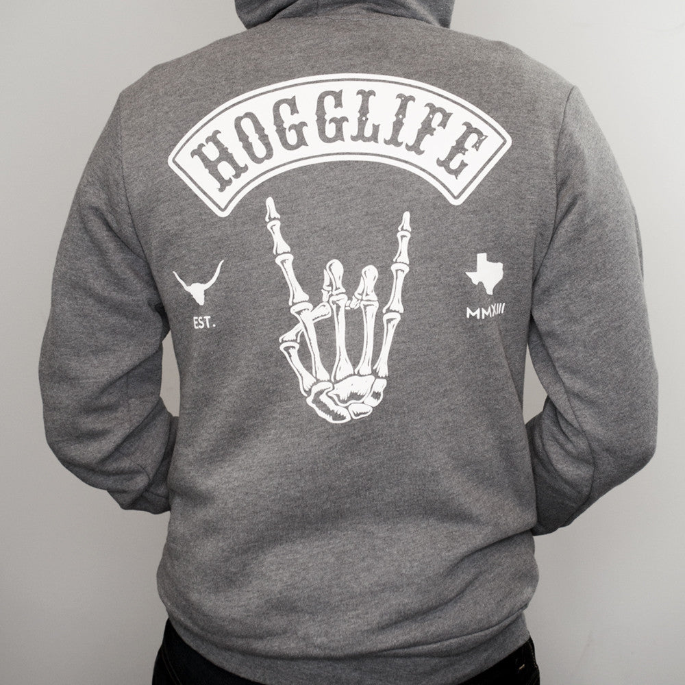"HoggLife ""Skull"" Hoody - Grey/White - BossLifeWorld  - 1"