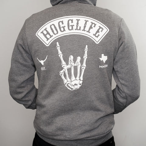"HoggLife ""Skull"" Hoody - Grey/White"