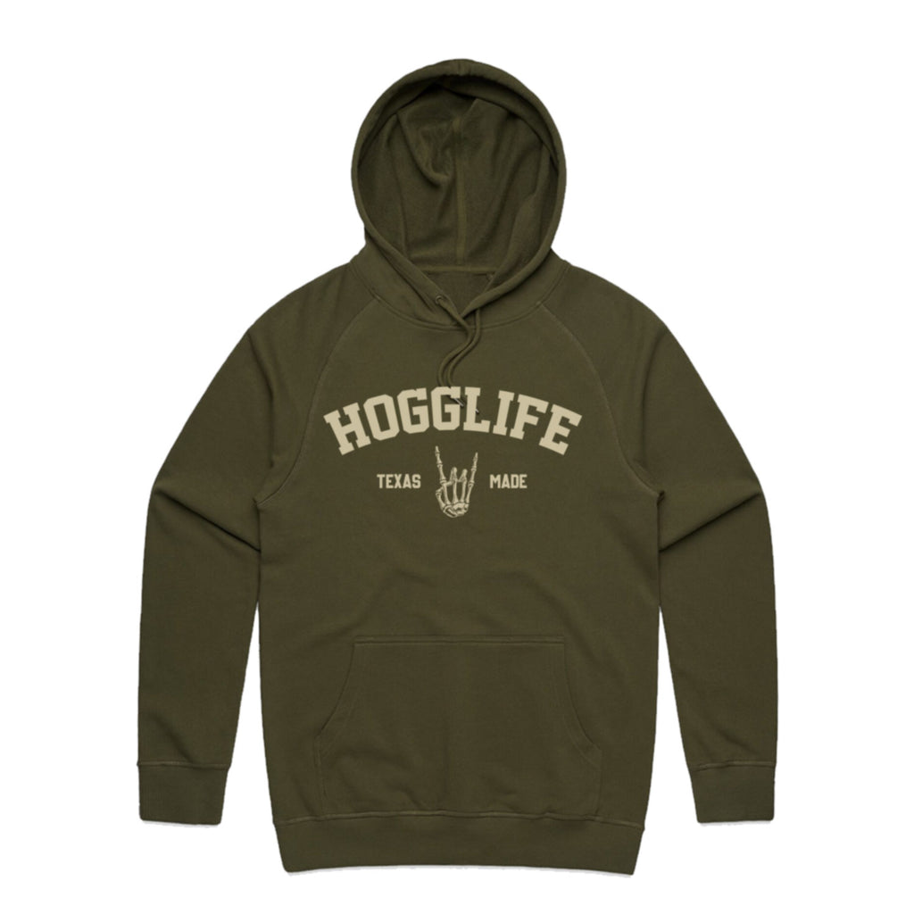 "HoggLife ""Texas"" Hoodie - Olive/Cream"