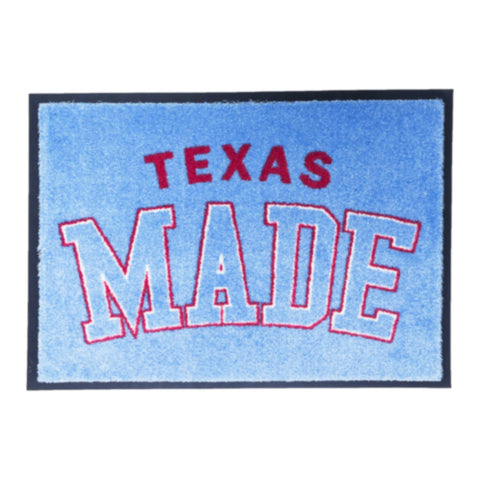 "HoggLife ""Texas Made"" Door Mat  - Light Blue/White/Red"