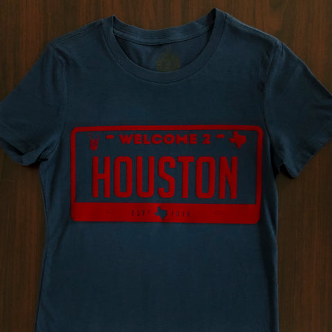 "HoggLife ""Welcome 2 Houston"" Women's Tee - Navy/Red"