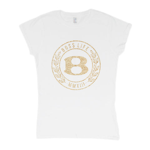 "BossLife ""Circle B"" Women's Tee - White/Gold Glitter"