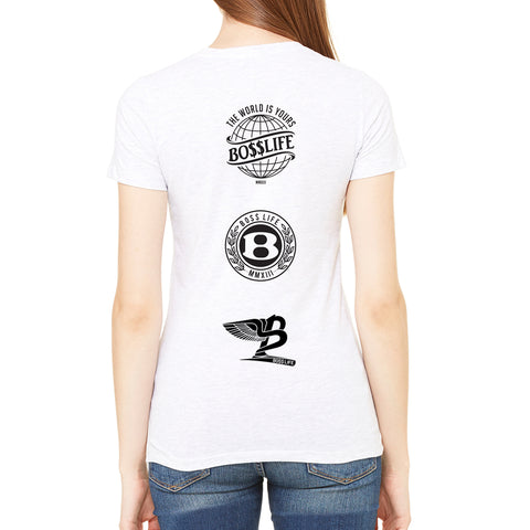 "BossLife ""Logos"" Women's Tee - White/Black"