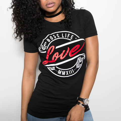 "BossLife ""Love"" Women's Tee - Black/Red"