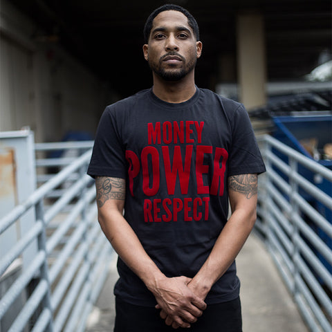 "BossLife ""Money Power Respect"" Tee - Black/Red Flock"