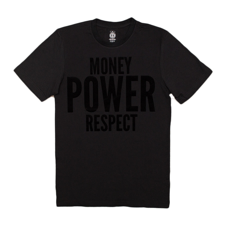 "BossLife ""Money Power Respect"" Tee - Black/Black Flock - BossLifeWorld"