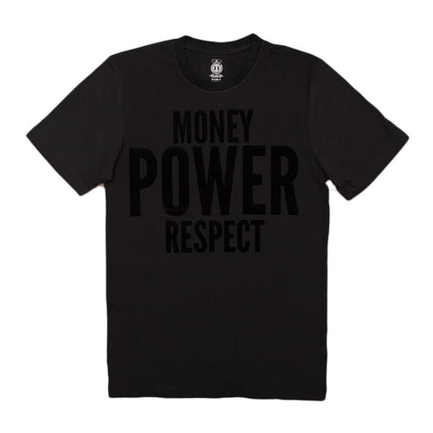 "BossLife ""Money Power Respect"" Tee - Black/Black Flock"