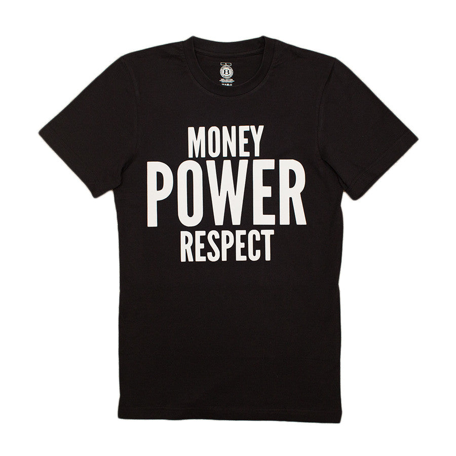 "BossLife ""Money Power Respect"" Tee - Black/White Flock - BossLifeWorld"