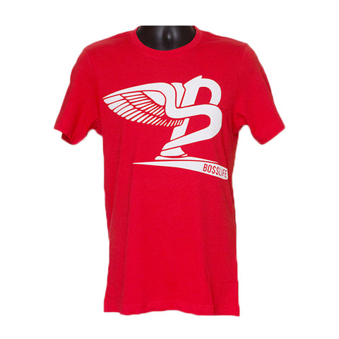 "BossLife ""Flying B"" Tee - Red/White Flock"
