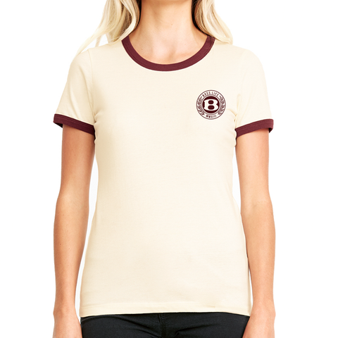 "BossLife ""Circle B"" Ringer Tee - Tan/Burgundy"