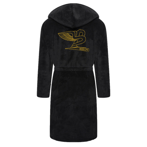 "BossLife ""Flying B"" Fleece Robe - Black/Gold"