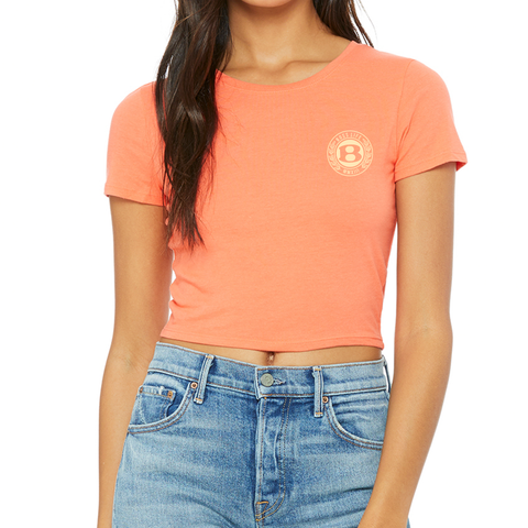 "BossLife ""Circle B"" Womens Crop Top - Salmon/Cream"