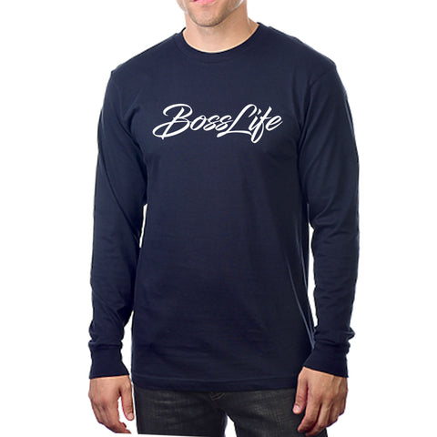 "BossLife ""Script"" Long Sleeve - Navy/White"