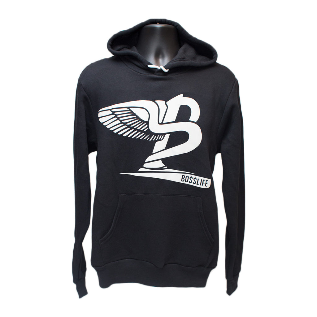 "BossLife ""Flying B"" Hoody - Black/White Flock - BossLifeWorld  - 2"