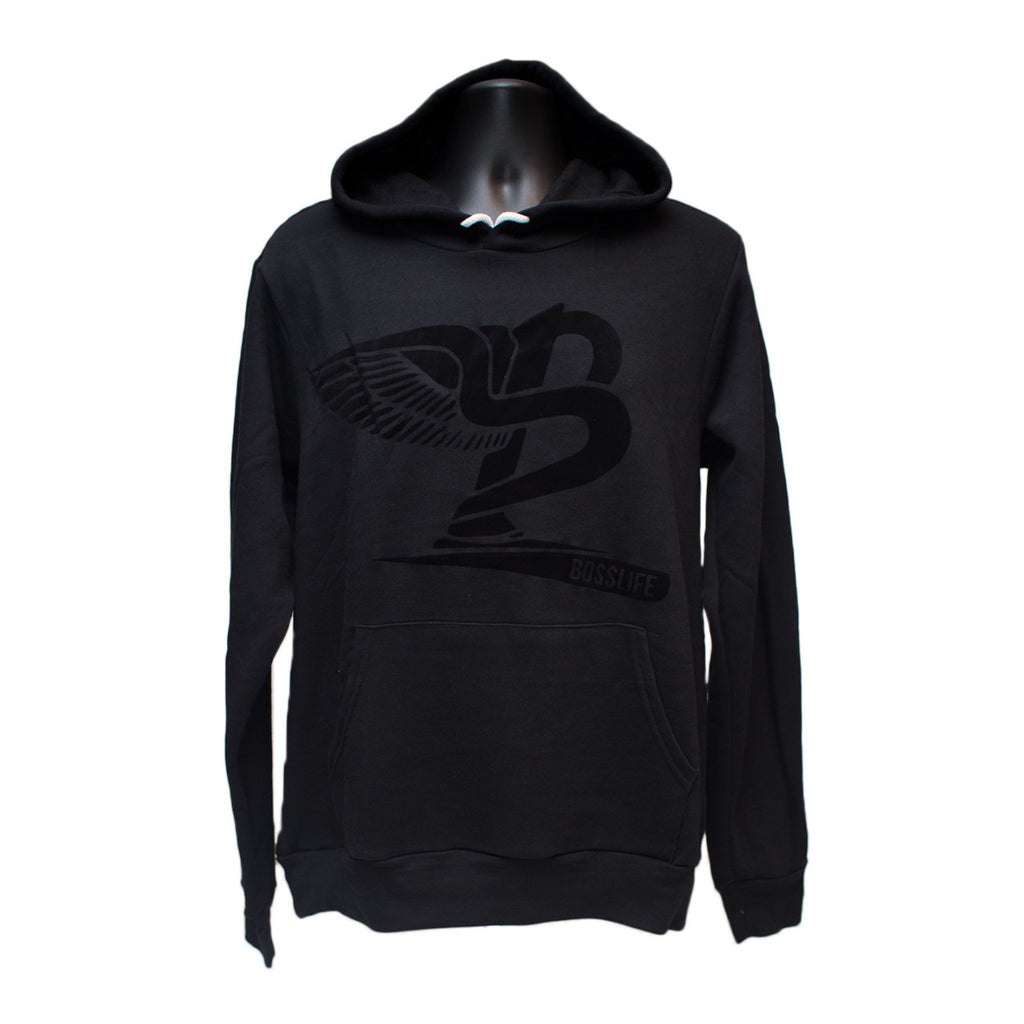 "BossLife ""Flying B"" Hoody - Black/Black Flock - BossLifeWorld  - 1"