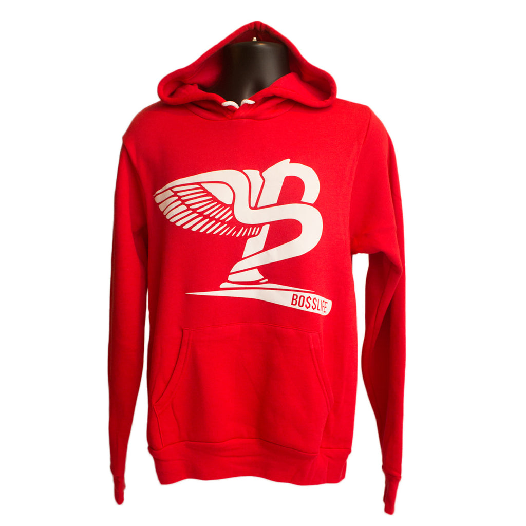 "BossLife ""Flying B"" Hoody - Red/White Flock - BossLifeWorld  - 1"