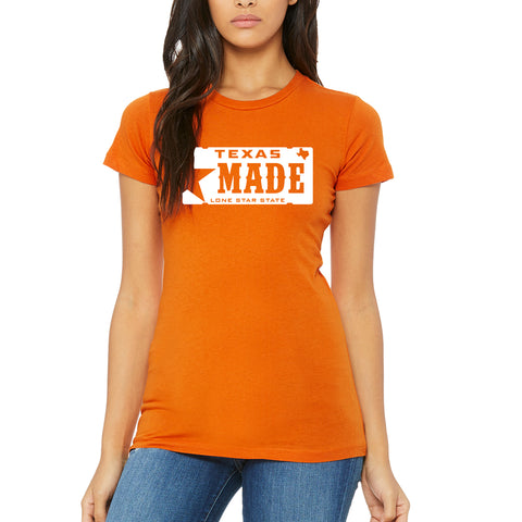 "HoggLife ""Texas Made"" Women's Tee - Orange/White"