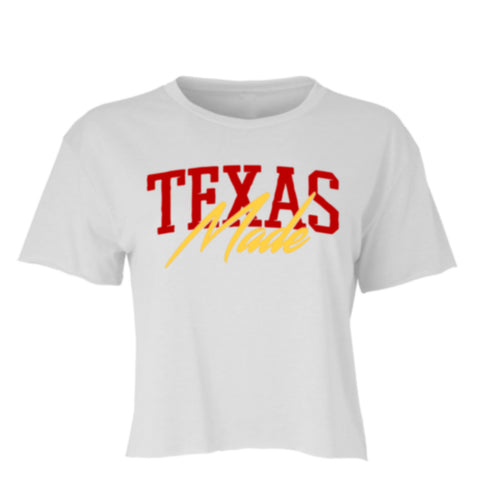 "HoggLife ""Texas Made"" Crop Top - White/Red/Yellow"