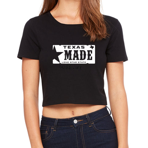 "HoggLife ""Texas Made"" Crop Top - Black/White"