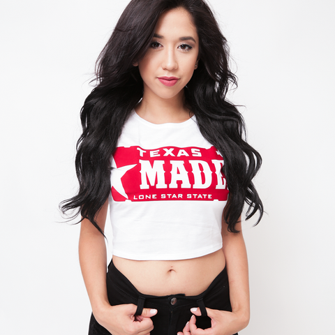 "HoggLife ""Texas Made"" Women's Crop top - White/Red"