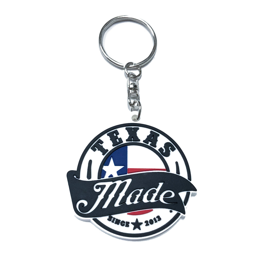 "HoggLife ""Texas Made v3"" Keychain - White/Black/Multi"