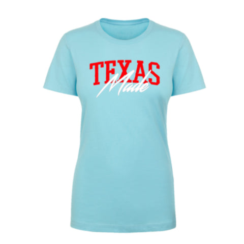 "HoggLife ""Texas Made"" Women's Tee - Light Blue/Red/White"