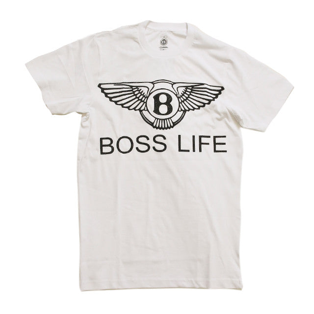 "BossLife ""Wings"" Tee  - White/Black Glitter - BossLifeWorld  - 1"