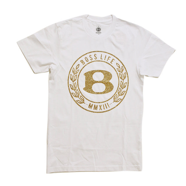 "BossLife ""Circle B"" Tee - White/Gold Glitter - BossLifeWorld"