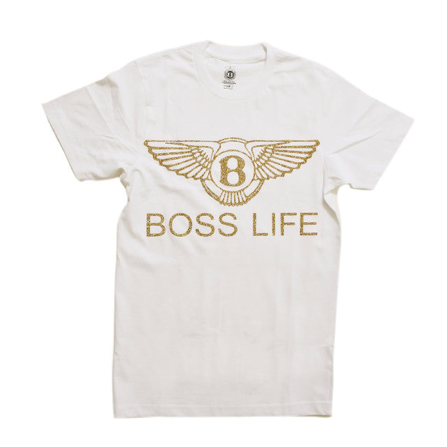"BossLife ""Wings"" Tee  - White/Gold Glitter - BossLifeWorld"