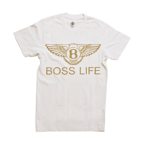 "BossLife ""Wings"" Tee  - White/Gold Glitter"