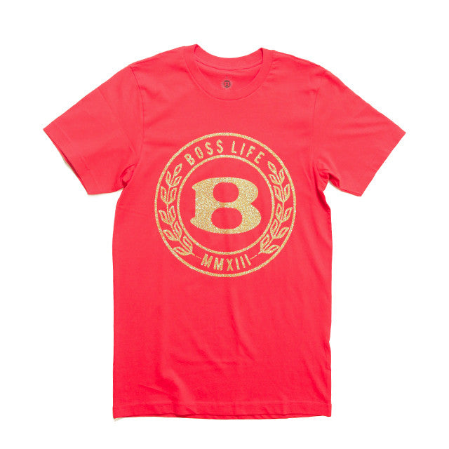 "BossLife ""Circle B"" Tee - Red/Gold Glitter - BossLifeWorld"