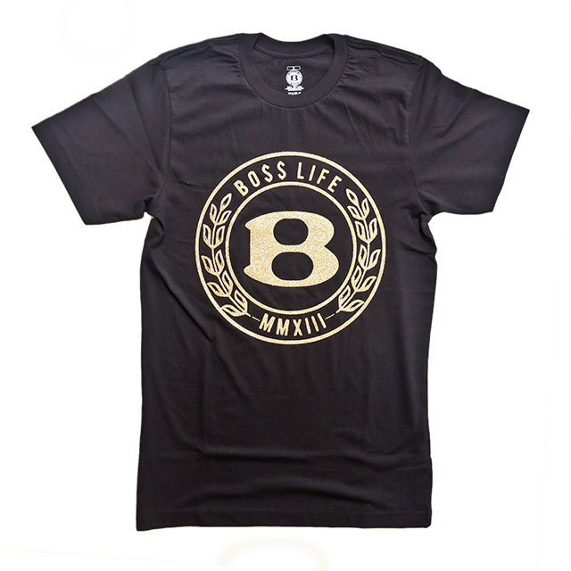 "BossLife ""Circle B"" Tee - Black/Gold Glitter - BossLifeWorld"