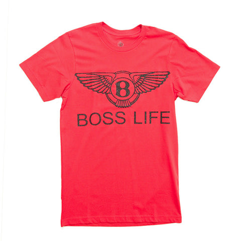 "BossLife ""Wings"" Tee  - Red/Black Glitter"