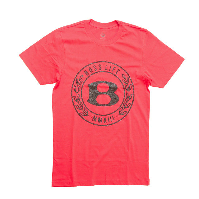 "BossLife ""Circle B"" Tee - Red/Black Glitter - BossLifeWorld"