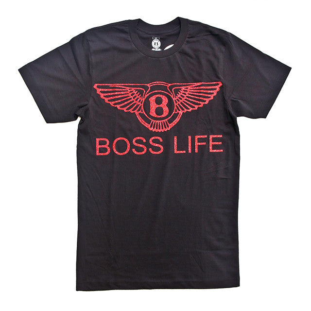 "BossLife ""Wings"" Tee  - Black/Red Glitter - BossLifeWorld"