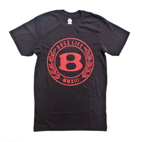 "BossLife ""Circle B"" Tee - Black/ Red Glitter"
