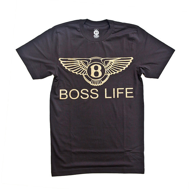 "BossLife ""Wings"" Tee  - Black/Gold Glitter - BossLifeWorld"