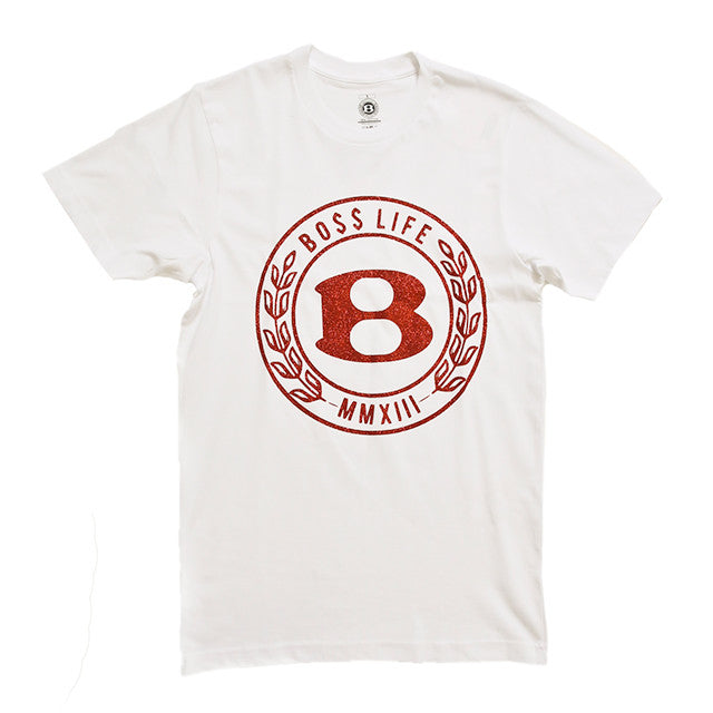 "BossLife ""Circle B"" Tee - White/Red Glitter - BossLifeWorld"