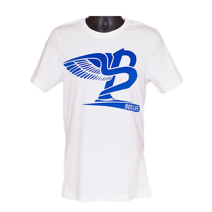 "BossLife ""Flying B"" Tee - White/Blue Flock - BossLifeWorld"