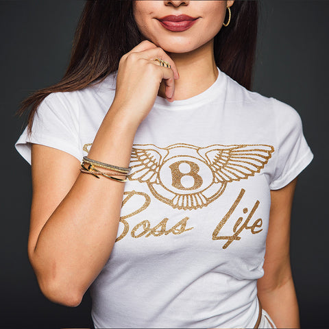 "BossLife ""Wings"" Women's T-Shirt - White/Gold Sugar Glitter"