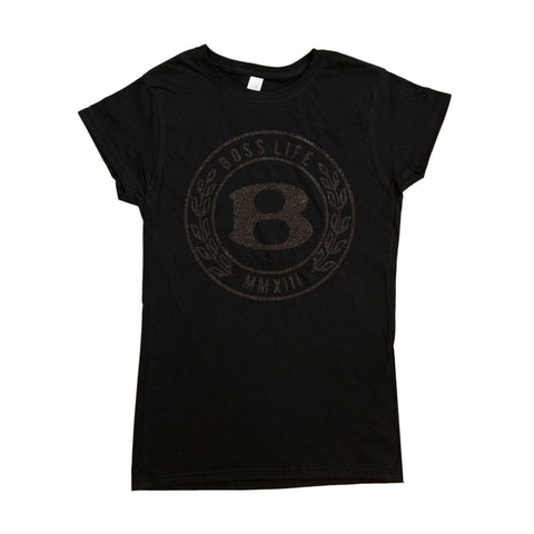 "BossLife ""Circle B"" Women's Tee - Black/Black Glitter"