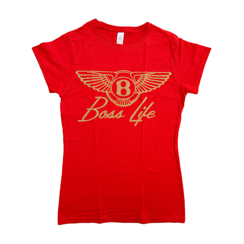 "BossLife ""Wings"" Women's Tee - Red/Gold Glitter"