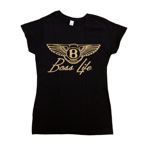 "BossLife ""Wings"" Women's Tee - Black/Gold Sugar Glitter"